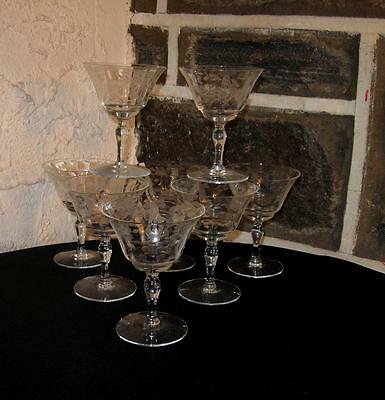 Vintage stemware LOT OF 8  Etched flower and sash footed Champagne/Sherbet