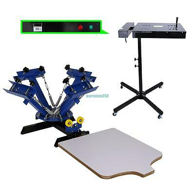 """4 Color 1 Station Silk Screen Printing Press Machine With 18""""x18"""" Flash Dryer"""