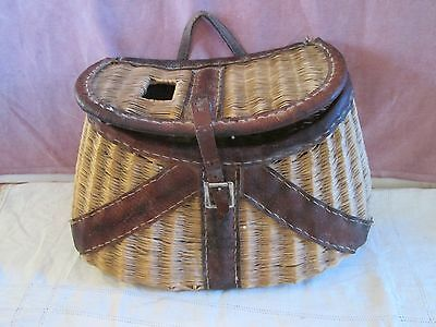 Vintage Hand Made Split Willow Fishing Creel / Leather Straps / Ruler On Top