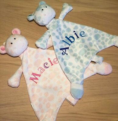 Personalised Baby Soft Comforters, Embroidered Fleece Giraffe Comforters