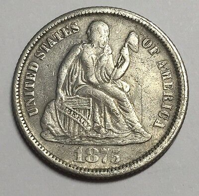 1875-CC 10C  Seated Liberty Dime XF-AU Details