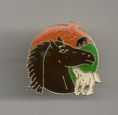 Vintage Horse Head Mare with Young at dusk old enamel pin