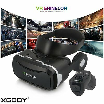 VR Virtual Reality Headset 3D Movies Games Video Glasses with Bluetooth Remote