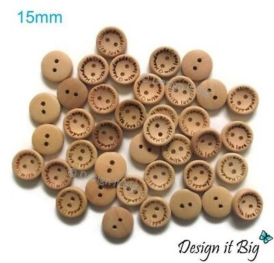 Natural Wooden Round Buttons With 2 Holes - HANDMADE WITH LOVE - 20mm/25mm/30mm