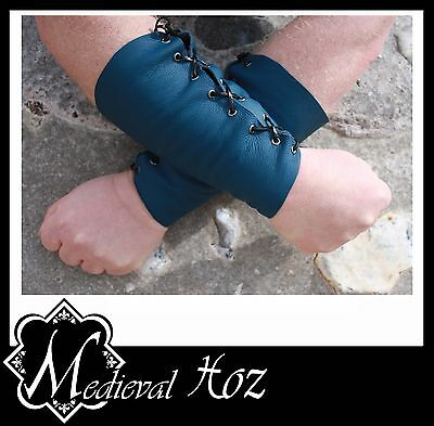 Medieval Blue Leather Armour Bracer with Black Lacing LARP RolePlay Medieval NEW