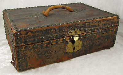 Spanish Colonial Hand Tooled Leather Rivet Document Box Case 12-3/4 inch Antique