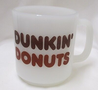 Vintage Glasbake Dunkin Donuts Coffee Cup Mug White Milk Glass Logo 70's Retro