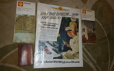 Vintage Shell Oil Map 1953 Planner Advertising Nice Collector Quality