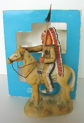 1978 Indian Chief Warrior # 1 With Lance On Horse Ski Country Mini Decanter