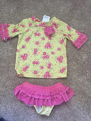 12 Month Two Piece Swim Suit With Rash Guard