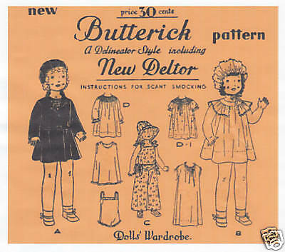"""436 Antique Chubby Doll Clothes Pattern - Size 18"""" - Year 1930"""