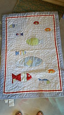 "Pottery Barn Kids ""Fish"" Toddler Bed Quilt"