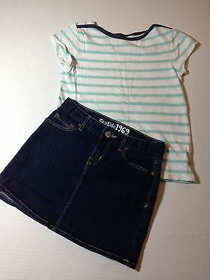 Gap Kids outfit girls size 10 stripped T-shirt and Denim Skirt