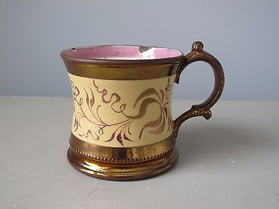 Antique Copper Luster Mug Shaving Cup with Pink Leaves