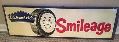 BF Goodrich Smileage Painted Metal Tire Sign Vintage - 73 x 23 x1 - HUGE