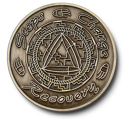 """Steps/Change/Recovery"" Native American Theme AA Program Bronze Coin/Medallion"