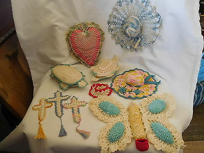 3-2017-Collection Of 10 Crocheted Whimseys..pin Cushons-Turtles-Crosses + Lqqqki