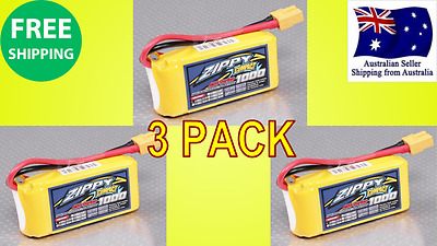 3 Pack ZIPPY COMPACT 1000mAh 3S 25C 11.1v XT60 LIPO Battery RC Plane Helicopter