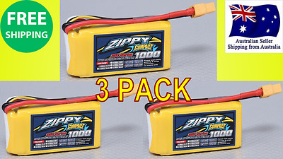 3 Pack ZIPPY COMPACT 1000mAh 3S 35C 11.1v LIPO Battery RC Plane Helicopter Quad