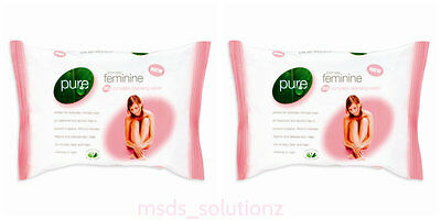 60 PURE Intimate Feminine Complete Cleansing Wipes Daily Use Stay Clean & Fresh