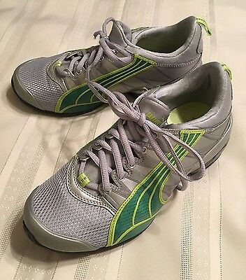 Women's Puma Sneakers Shoes Size 7 Gray w/green Mesh