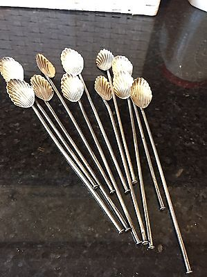 "11 Vintage Fan Shaped  8"" Stirrer / Straws ~ Hallmarked Sterling ~Made in Mexico"