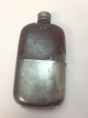Antique Hip Flask Glass w/ leather cover Cup Plated
