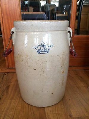 Vintage Blue Crown #3 Crock With Wooden Handles