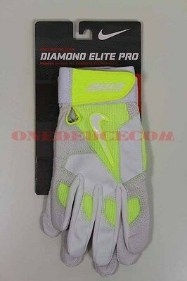 Nike Diamond Elite Pro Baseball Batting Gloves Volt Yellow White Size Small New