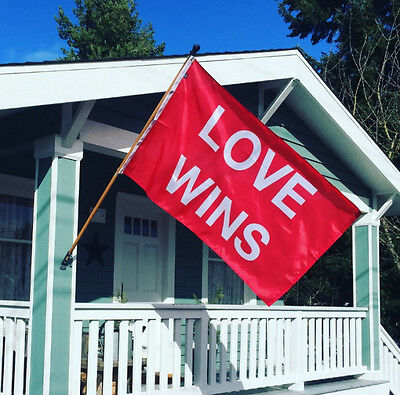 LOVE WINS Screen-printed 3'x5' Nylon Flag