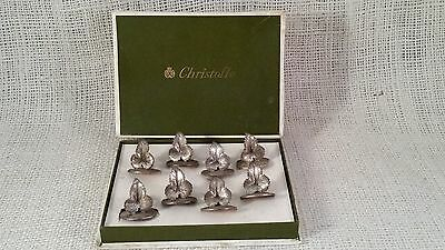 Christofle 8 Place Name Card Menu Holders Wine Grape Leaves good condition w/box