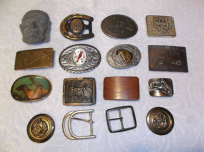 Vintage Lot 14 Assorted Belt Buckles Brass CB Pacifica NRA Pirate Ford+