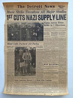 "The Detroit News Front Page March 13, 1945 Newspaper WW2 Ephemera 16"" x 23.5"""
