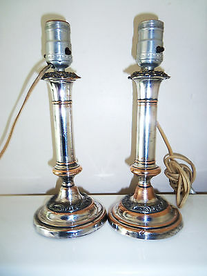 Fine Pair Old Sheffield Plate Candlestick Lamps C. 1825