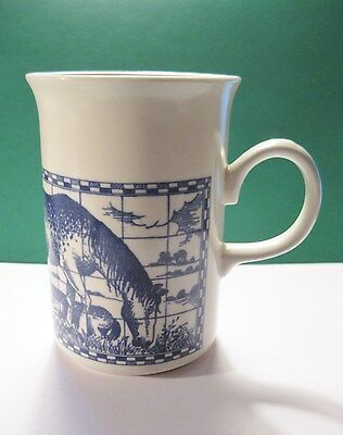 Churchill Tall Horse Horses w/Colt Coffee Mug Cup Made in England Ivory & Blue