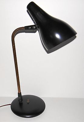 Vintage Lightolier Black & Brass Mid Century Modern Desk Lamp