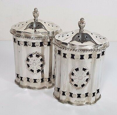 Pair Hm Silver Pie Shaped Pierced Pepper Shakers Pots - Blue Liner 1989