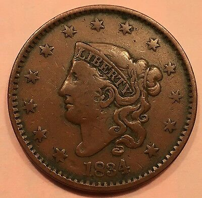 1834 1C Coronet Head Cent. RARE, Finely Detailed Early American Copper Coin