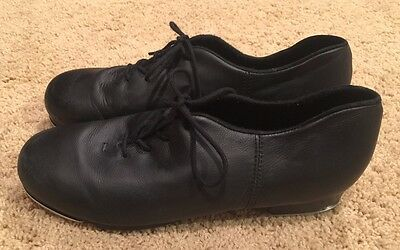 Woman's Capezio Black Leather Lace-up Tap Shoes Size 10 - EUC