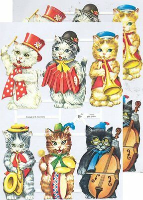 Chromo EF Découpis Chat Musicien 7043 Embossed Illustrations Tale