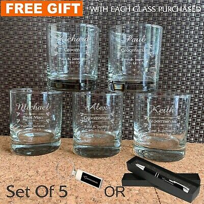 5 x Personalised Engraved Scotch Glass Wedding Favour Gift Groomsman Bourbon