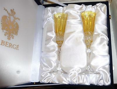 2 Faberge Xenia Yellow Gold Cut to Clear Crystal Champagne Flutes Signed NIB