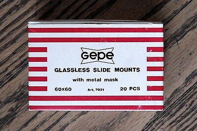 Gepe 60mm Slide Mounts NOS Box of 20 60x60 Medium Format Square