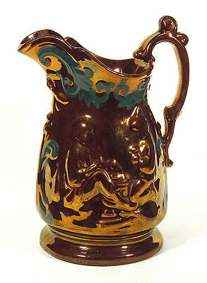 1800s Large Antique COPPER LUSTER PITCHER Jug Molded Staffordshire Pottery N/R!