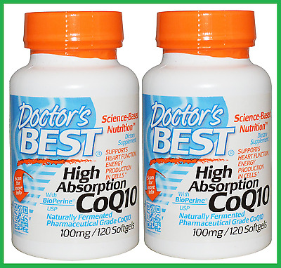 2x Doctor's Best CoQ10 100 mg 240 Sgels -Co-enzyme Q10 BioPerine HIGH ABSORPTION
