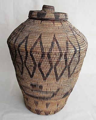RARE and Unusual Large Antique African or Asian Basket Urn