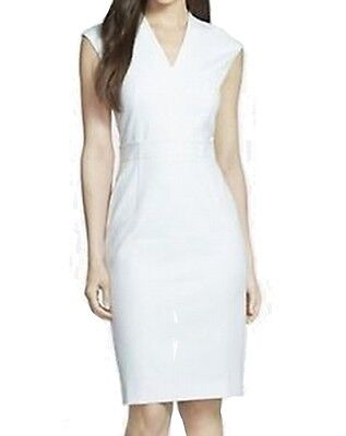 Classiques Entier NEW White Ivory Womens Size 14 V-Neck Sheath Dress $75 389