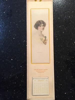Antique 1915 Insurance Agent Calendar with Miss Quality calendar girl from Wis.