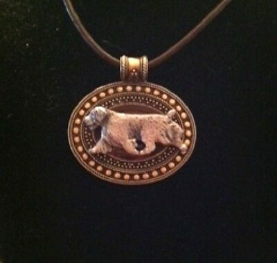 Clumber Spaniel Dog Brass Medallion~necklace~dog lovers~leather cord~
