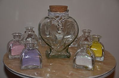 Large Family Sand Ceremony Set ~ Glass Heart Jar & 8 Small Pyramid Pourers